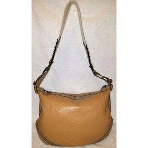 Caramel monogram leather hobo handbag